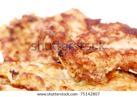 fried chop on a white background