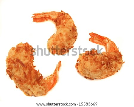 Fried coconut shrimp dipped in sweet sauce