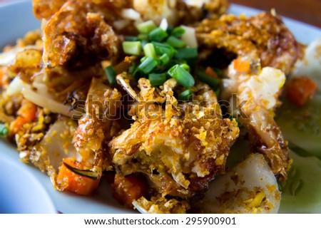 Fried crab at Thai Food - stock photo