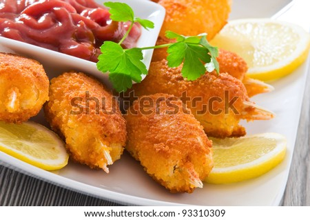 Fried crab claws. - stock photo