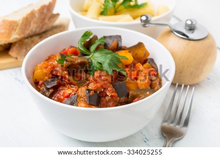 Fried Creole Aubergines Served with Pasta