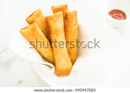 Fried crispy spring roll with sauce