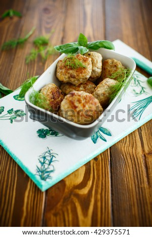 fried cutlet in ceramic form