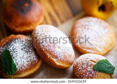 fried donuts with quince inside - stock photo