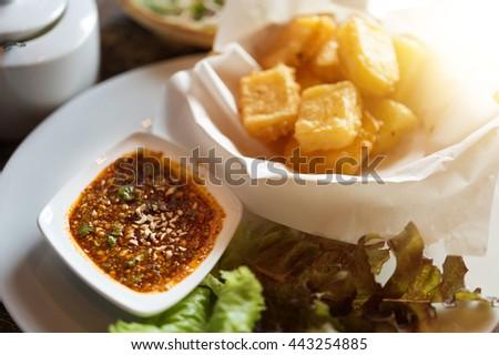 "fried dough.it's made from peanut and rice, ""Taunggyi""local food ""Kao Ram Feun"" - stock photo"