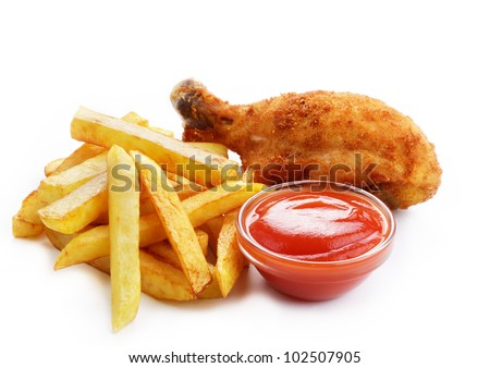 Fried drumsticks with ketchup and french fries over white background - stock photo