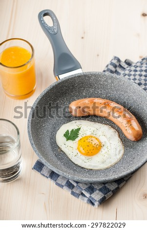 Fried egg and sausage in a pan