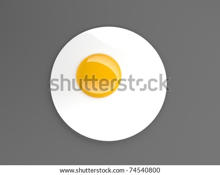 fried egg circle - stock photo