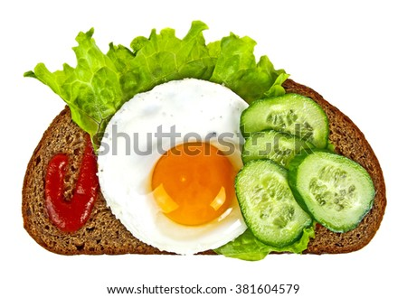 Fried egg, cucumber slices, rye bread, lettuce leaf and ketchup on a white background - stock photo