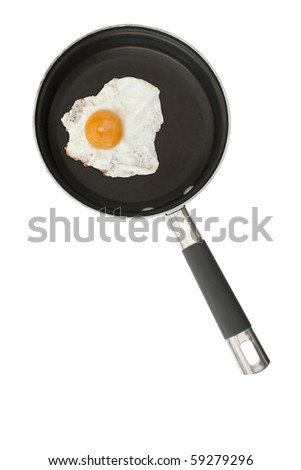 Fried egg in a frying pan isolated on a white background - stock photo