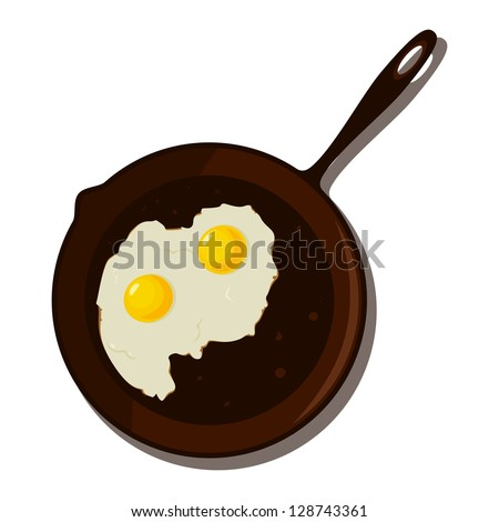 Fried egg in a frying pan. Raster version. - stock photo