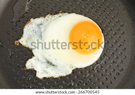 Fried egg in a non stick frying pan - stock photo