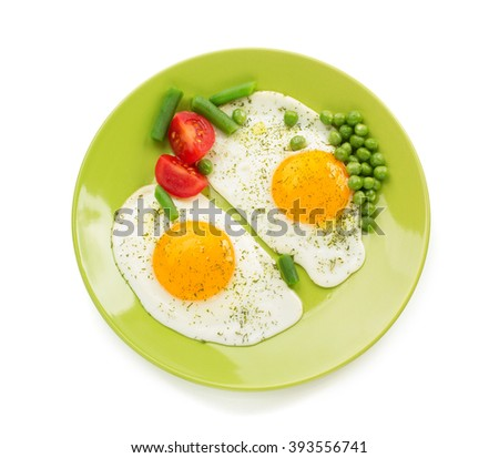fried egg in plate isolated on white background - stock photo