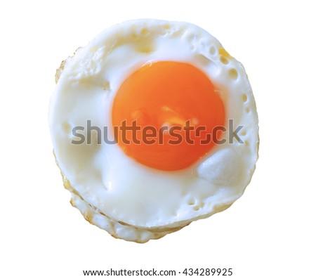 fried egg isolate on white background - stock photo