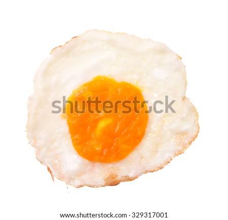 fried egg isolated on white background - stock photo