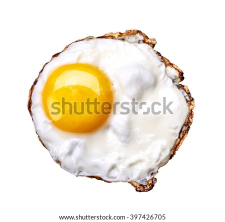 fried egg isolated on white background Clipping Path - stock photo