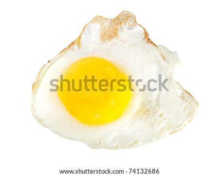 Fried egg isolated on white background (Path)