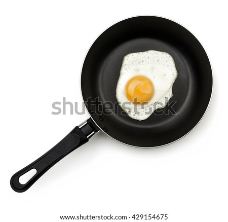 Fried egg on a pan isolated on white with shadow. Top view