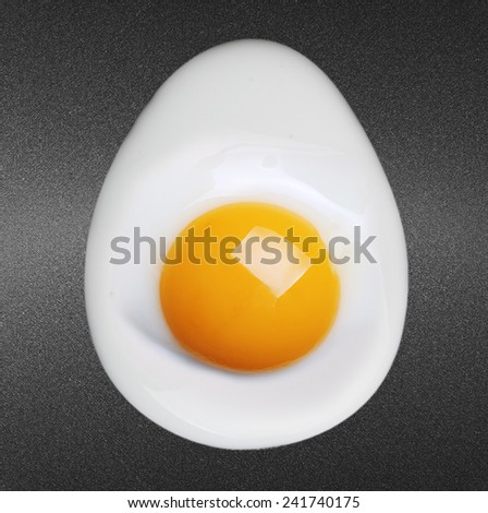 Fried egg on frying pan  - stock photo