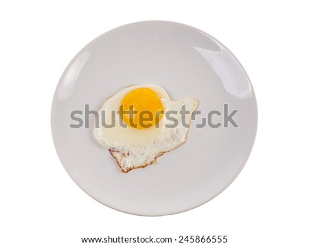 Fried egg on plate - stock photo