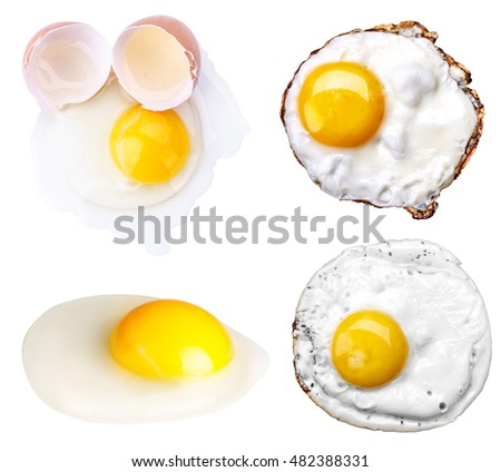 fried egg set isolated on white background