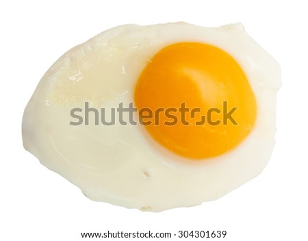 Fried egg sunny side up isolated on white