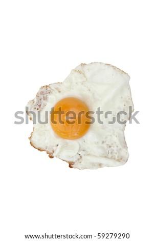 fried egg sunny side up on a white background - stock photo