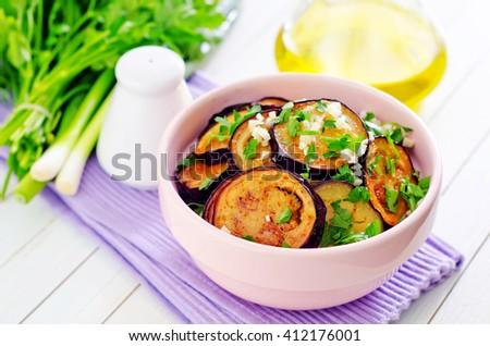 fried eggplant - stock photo