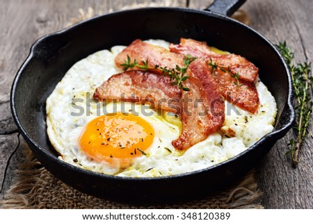 Fried eggs and bacon, close up view - stock photo