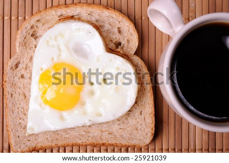 Fried eggs and cup of black coffee