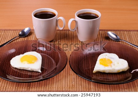 Fried eggs and two cups of black coffee