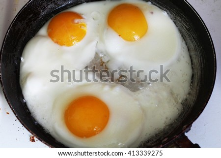 fried eggs in a pan - stock photo
