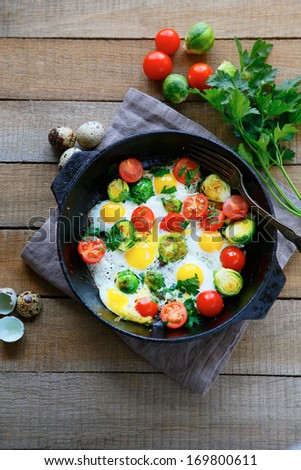 fried eggs in a pan, top view, food - stock photo