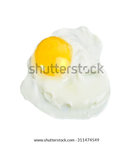 Fried Eggs isolated on white - stock photo