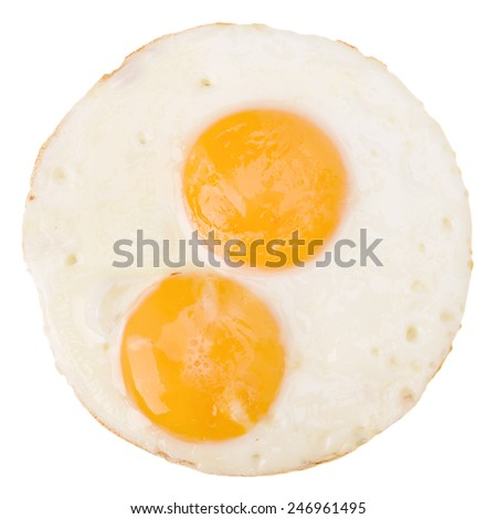 Fried Eggs isolated on white background cutout - stock photo