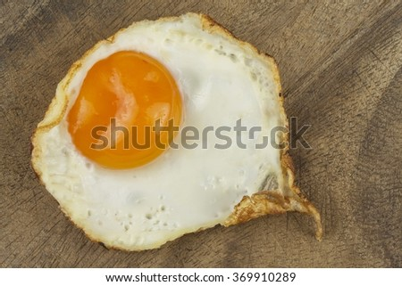 Fried Eggs on a wooden background. - stock photo