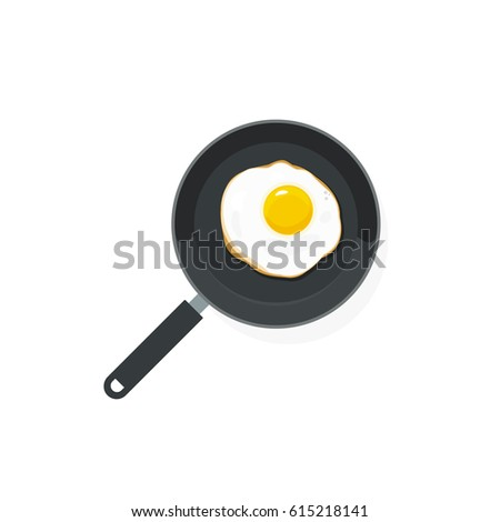Fried Eggs On Pan Illustration Top View Flat Style Scrambled Egg Omelette Cartoon