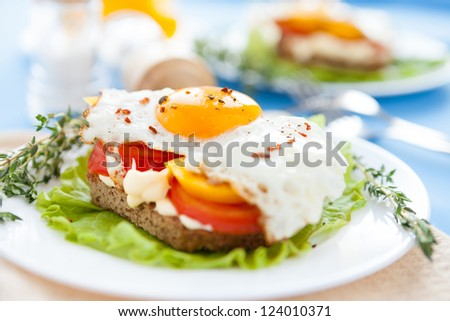 fried eggs with peppers and tomatoes on a white plate, food - stock photo