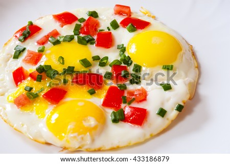 fried eggs with vegetables on plate
