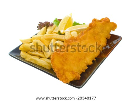 Fried fish and chips over white background
