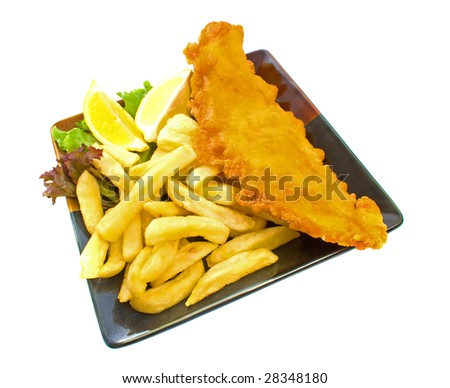 Fried fish and chips over white background - stock photo