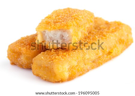 Fried fish fingers on white surface. - stock photo