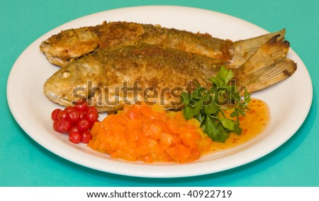 Fried fish in plate on a green background - stock photo
