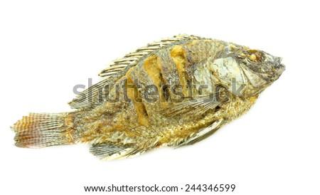 fried fish on white background - stock photo