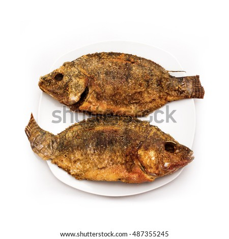 Fried Fish on White Porcelain Plate, Isolated on White Background