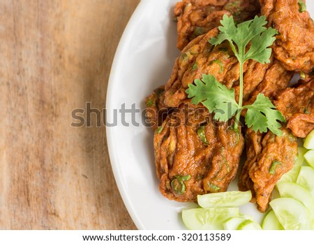 Fried fish patty,Thai style spicy fish ball , Thai food, appetizer - stock photo