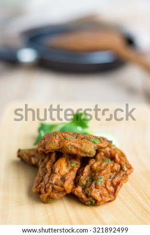Fried fish patty, Thai style spicy fish ball , Thai food, appetizer - stock photo