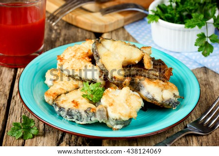 Fried fish selective focus - stock photo