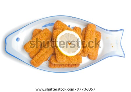Fried fish sticks on the fish-shape plate, isolated on white