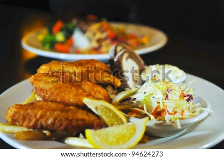 Fried Fish with coleslaw bread and tartar sauce - stock photo